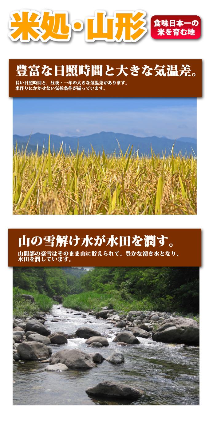 食味日本一の米を育む地。米処・山形。1.豊富な日照時間と大きな気温差。長い日照時間と、昼夜・一年の大きな気温差があります。米作りにかかせない気候条件が揃っています。2.山の雪解け水が水田を潤す。山間部の豪雪はそのまま山に貯えられて、豊かな湧き水となり、水田を潤しています。